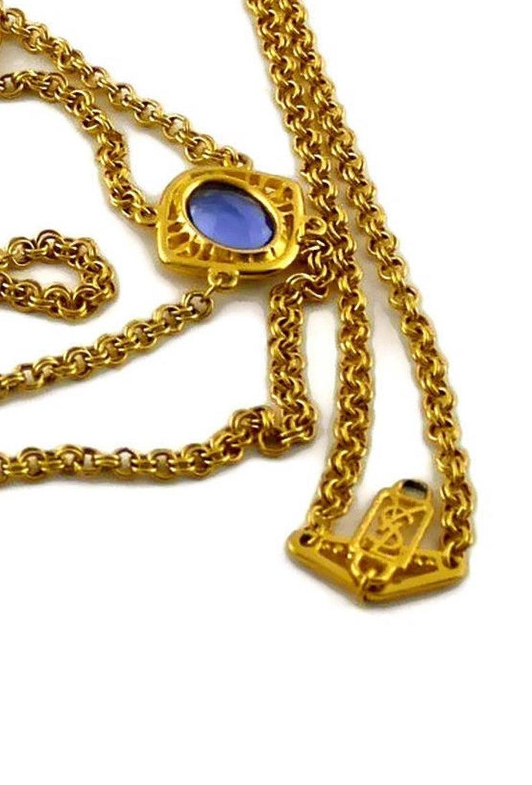 Vintage YSL Yves Saint Laurent Coloured Glass Stones Multi Layer Chain Long Neck For Sale 5