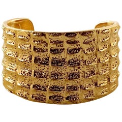 Vintage YSL Yves Saint Laurent Crocodile Pattern Bracelet Cuff