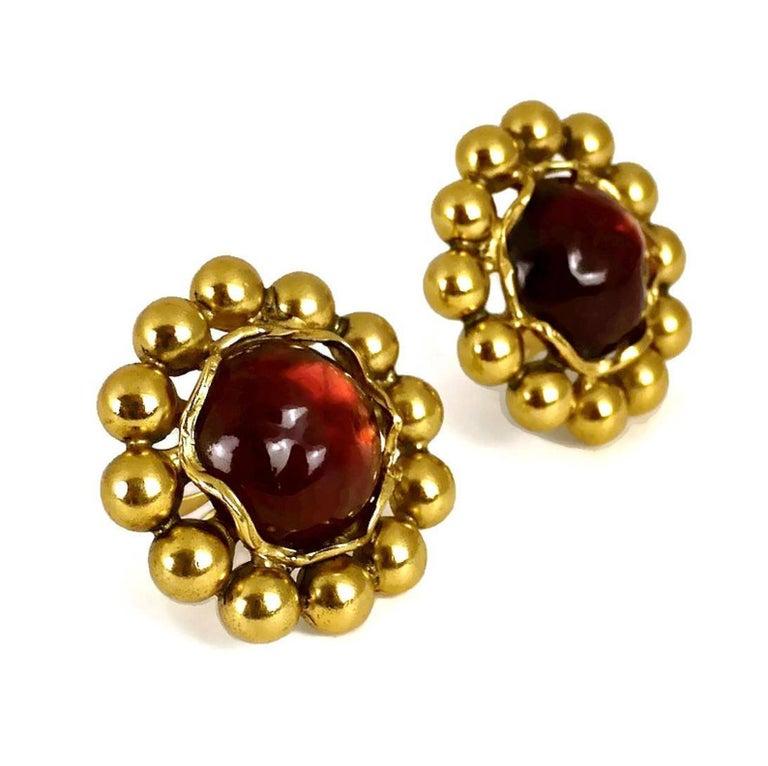 Women's Vintage YSL Yves Saint Laurent Dark Amber Resin Poured Flower Earrings For Sale