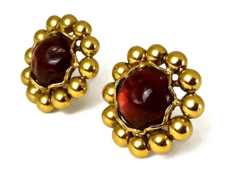 Vintage YSL Yves Saint Laurent Dark Amber Resin Poured Flower Earrings For Sale 1