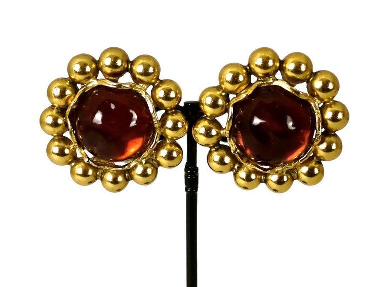 Vintage YSL Yves Saint Laurent Dark Amber Resin Poured Flower Earrings For Sale 3