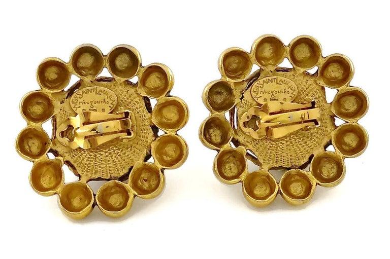 Vintage YSL Yves Saint Laurent Dark Amber Resin Poured Flower Earrings For Sale 4