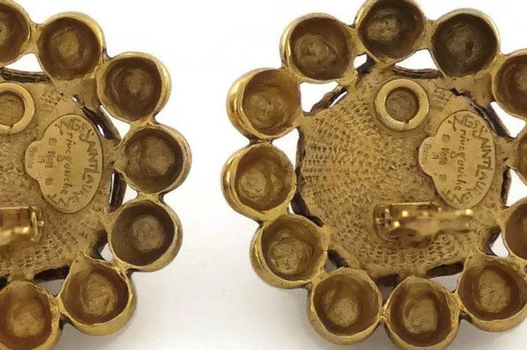 Vintage YSL Yves Saint Laurent Dark Amber Resin Poured Flower Earrings For Sale 5