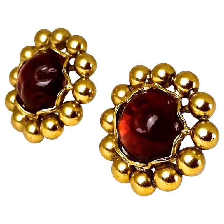 Vintage YSL Yves Saint Laurent Dark Amber Resin Poured Flower Earrings For Sale