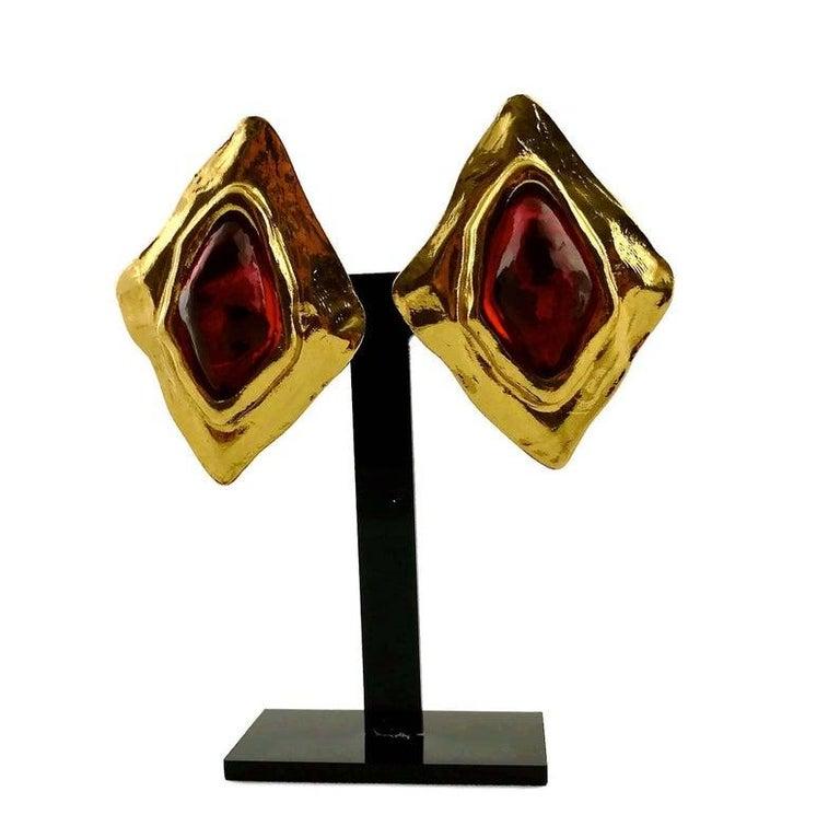 Women's Vintage YSL Yves Saint Laurent Diamond Ruby Stone Earrings For Sale