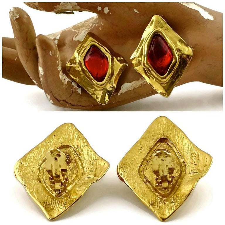 Vintage YSL Yves Saint Laurent Diamond Ruby Stone Earrings For Sale 1