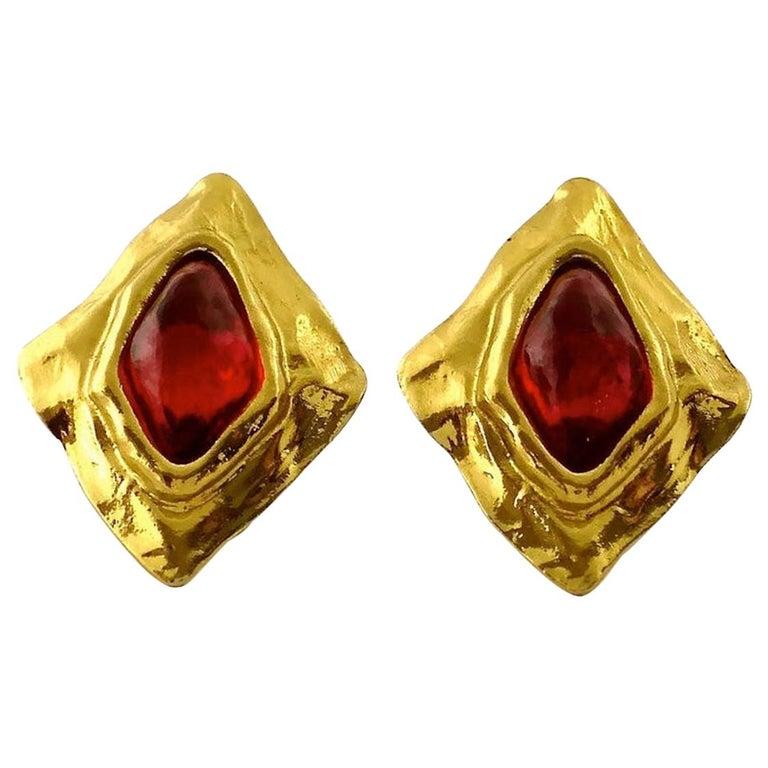 Vintage YSL Yves Saint Laurent Diamond Ruby Stone Earrings For Sale