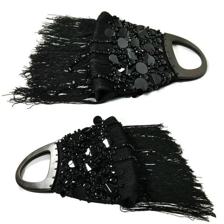 Black Vintage YSL Yves Saint Laurent Disc Beaded Fringe Wood Top Handle Hand Bag For Sale