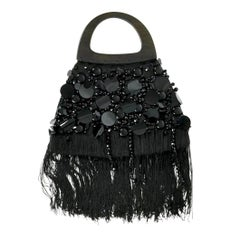 Vintage YSL Yves Saint Laurent Disc Beaded Fringe Wood Top Handle Hand Bag