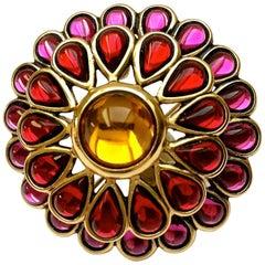 Vintage YSL Yves Saint Laurent Dome Flower Glass Pendant Brooch