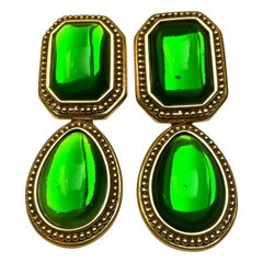 Vintage YSL Yves Saint Laurent Emerald Byzantine Drop Earrings