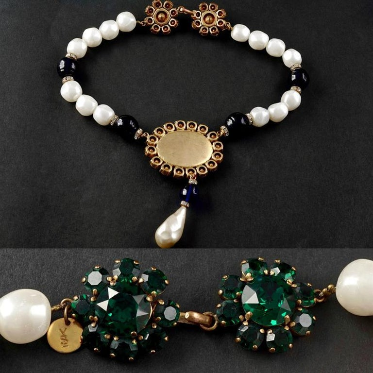 Vintage YSL Yves Saint Laurent Emerald Sapphire Stone Pearl Victorian Necklace For Sale 1