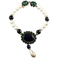 Vintage YSL Yves Saint Laurent Emerald Sapphire Stone Pearl Victorian Necklace