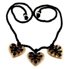 Vintage YSL Yves Saint Laurent Enamel Heart Silk Cord Necklace
