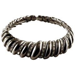 Vintage YSL Yves Saint Laurent Gunmetal Rhinestones Choker Necklace