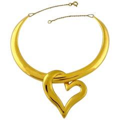Vintage YSL Yves Saint Laurent Heart Pendant Rigid Choker Necklace