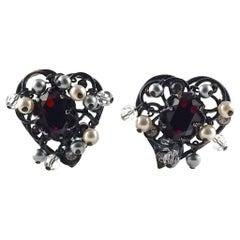 Vintage YSL Yves Saint Laurent Heart Ruby Pearls Filigree Earrings