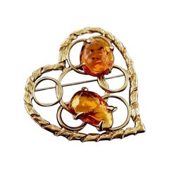 Vintage YSL Yves Saint Laurent Openwork Heart Amber Resin Brooch