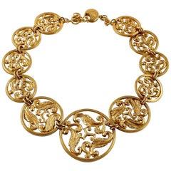 Vintage YSL Yves Saint Laurent Openwork Medallion Link Necklace