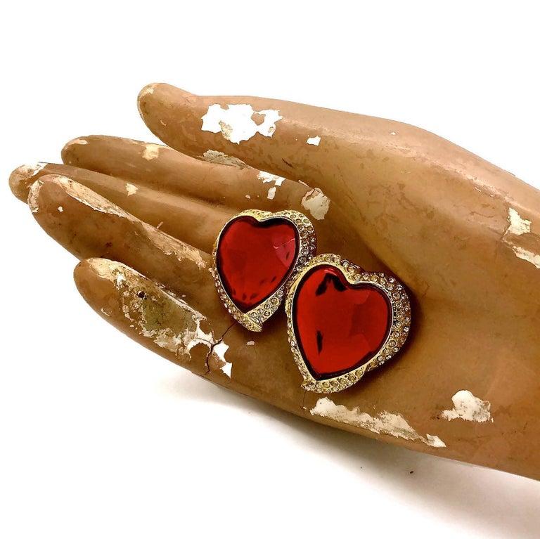 Women's Vintage YSL Yves Saint Laurent Red Faceted Heart Rhinestone Earrings For Sale