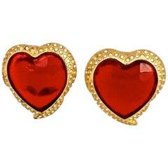 Vintage YSL Yves Saint Laurent Red Faceted Heart Rhinestone Earrings
