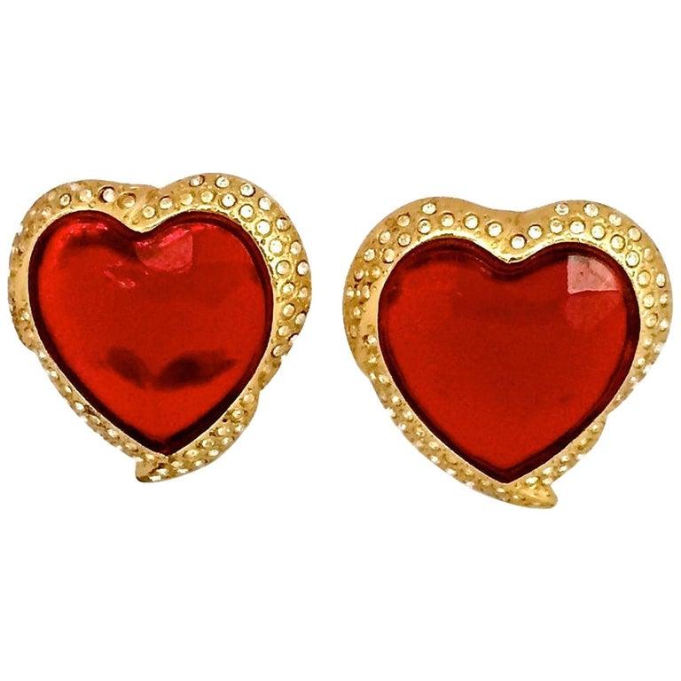 Vintage YSL Yves Saint Laurent Red Faceted Heart Rhinestone Earrings For Sale