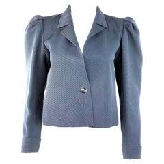 Vintage YSL Yves Saint Laurent Rive Gauche Navy Blazer Tuxedo Jacket Size 38