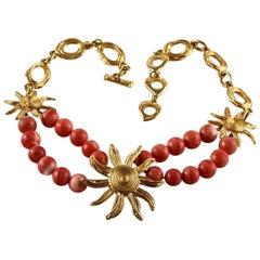 Vintage YSL Yves Saint Laurent Sun Coral Beads Necklace