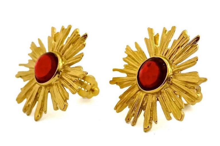 Women's Vintage YSL Yves Saint Laurent Sunburst Ruby Stone Earrings For Sale