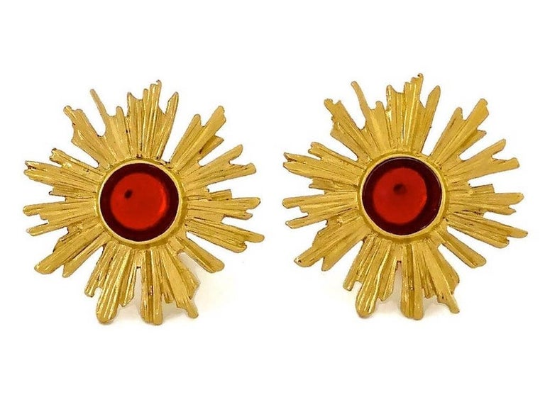 Vintage YSL Yves Saint Laurent Sunburst Ruby Stone Earrings For Sale 1