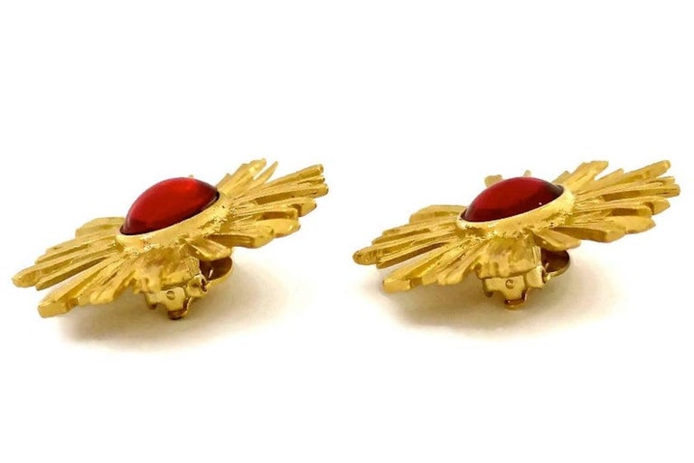 Vintage YSL Yves Saint Laurent Sunburst Ruby Stone Earrings For Sale 2