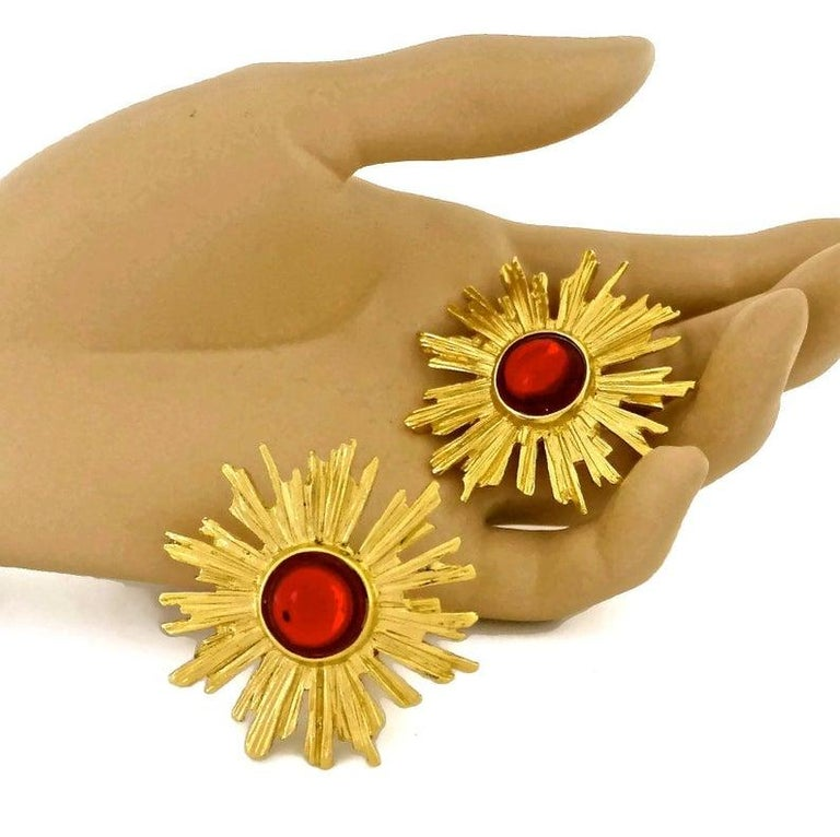 Vintage YSL Yves Saint Laurent Sunburst Ruby Stone Earrings For Sale 3