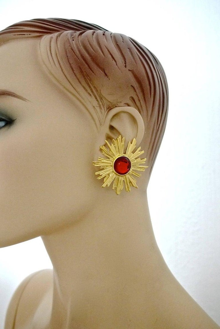 Vintage YSL Yves Saint Laurent Sunburst Ruby Stone Earrings For Sale 4