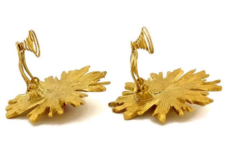 Vintage YSL Yves Saint Laurent Sunburst Ruby Stone Earrings For Sale 5