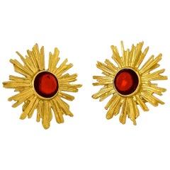 Vintage YSL Yves Saint Laurent Sunburst Ruby Stone Earrings