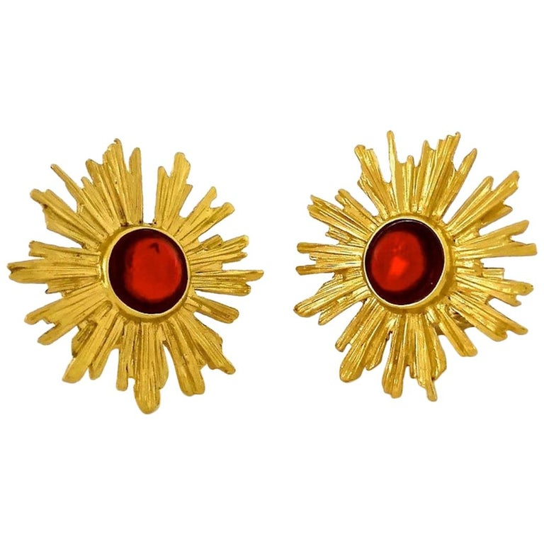 Vintage YSL Yves Saint Laurent Sunburst Ruby Stone Earrings For Sale