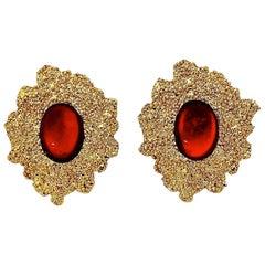 Vintage YSL Yves Saint Laurent Textured Ruby Cabochon Earrings
