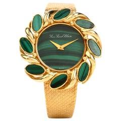 Vintage Yves Saint Blaise Malachite 18 Karat Gold Mechanical Watch