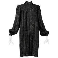 Vintage Yves Saint Laurent 1970's Black & Gold Smock Dress