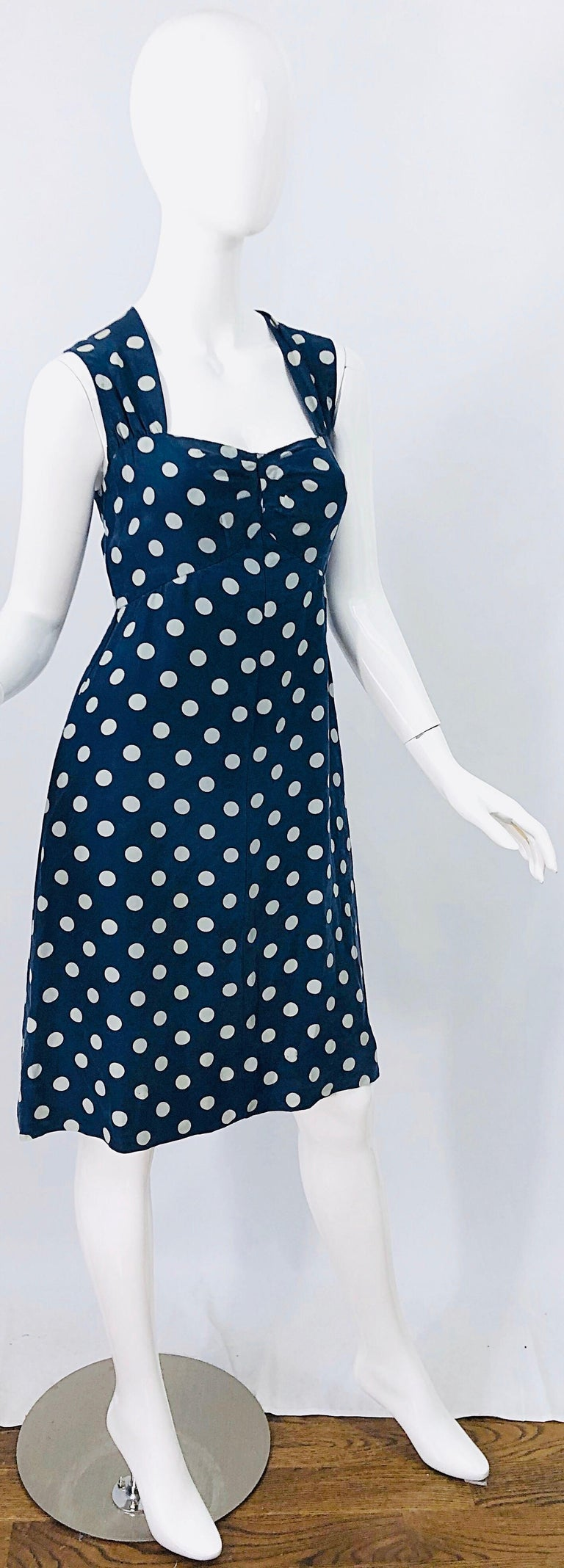 Vintage Yves Saint Laurent 1980s Navy Blue + White Polka Dot Silk 80s Dress YSL For Sale 6
