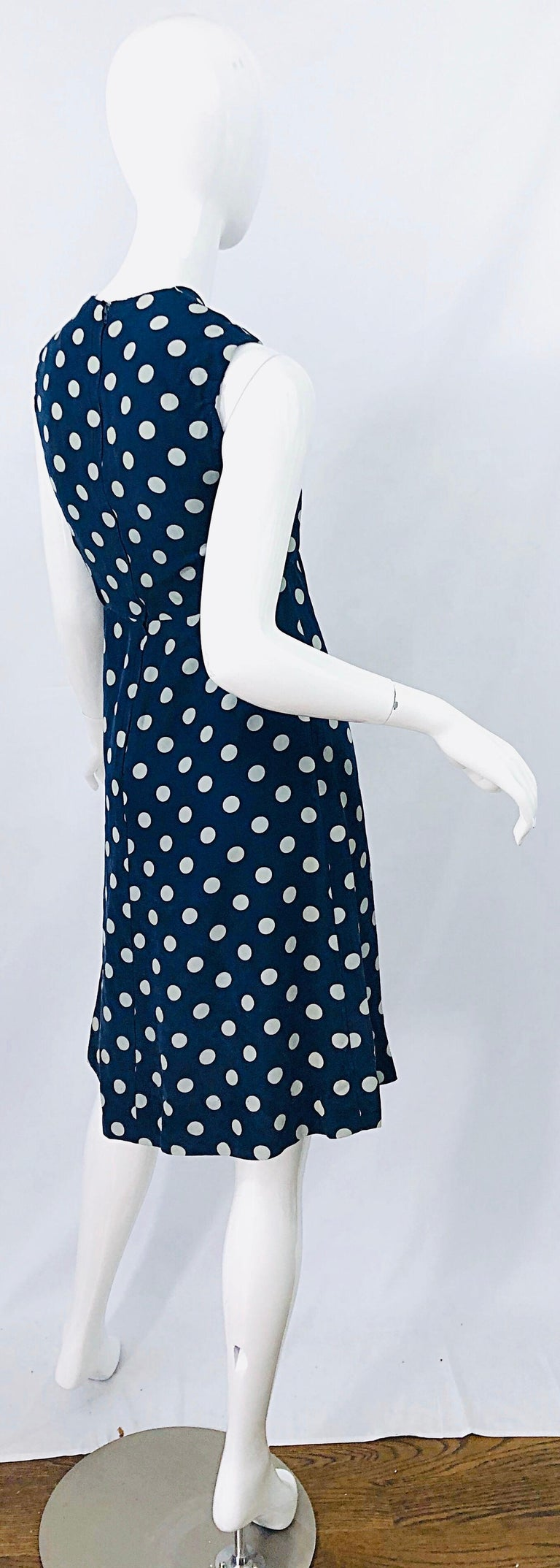 Vintage Yves Saint Laurent 1980s Navy Blue + White Polka Dot Silk 80s Dress YSL For Sale 7