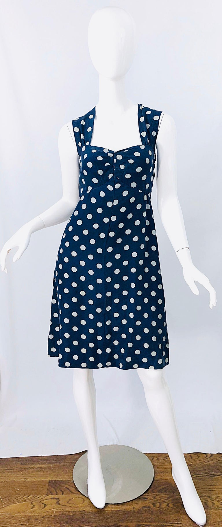 Vintage Yves Saint Laurent 1980s Navy Blue + White Polka Dot Silk 80s Dress YSL For Sale 8