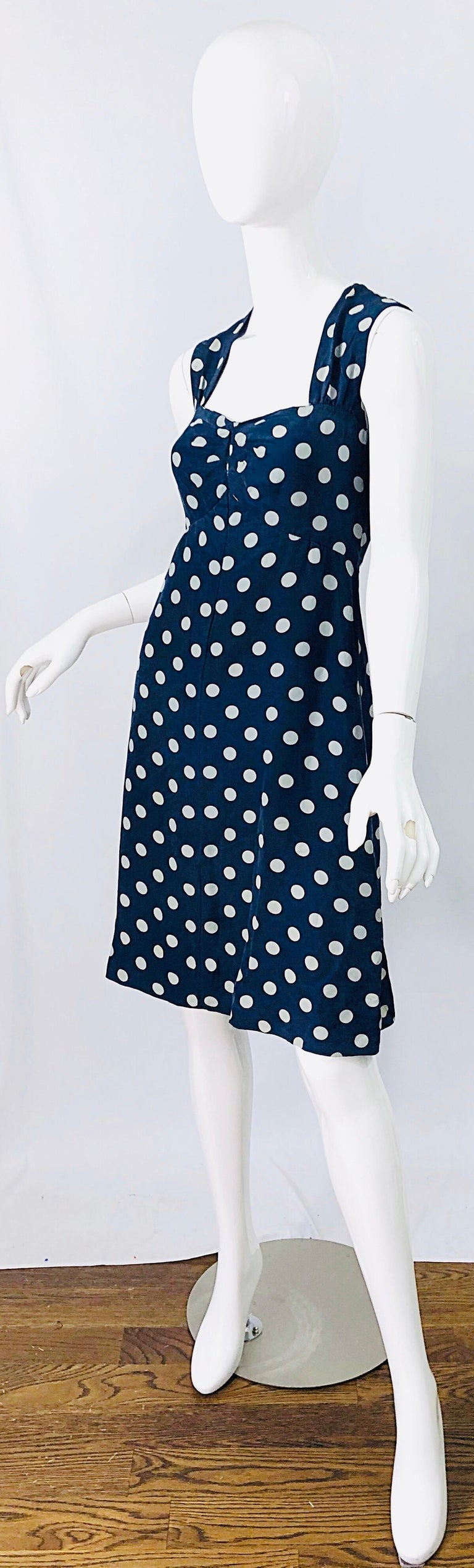 Black Vintage Yves Saint Laurent 1980s Navy Blue + White Polka Dot Silk 80s Dress YSL For Sale