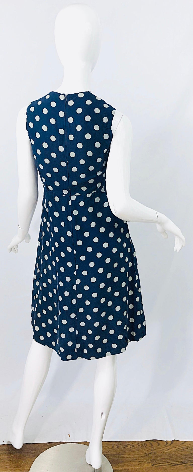 Women's Vintage Yves Saint Laurent 1980s Navy Blue + White Polka Dot Silk 80s Dress YSL For Sale