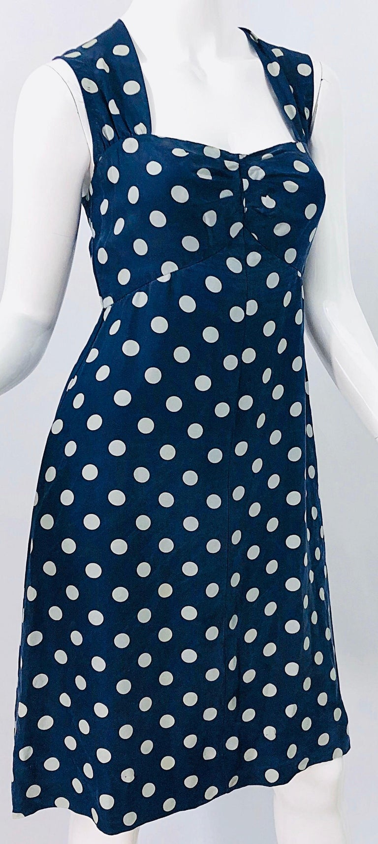 Vintage Yves Saint Laurent 1980s Navy Blue + White Polka Dot Silk 80s Dress YSL For Sale 1