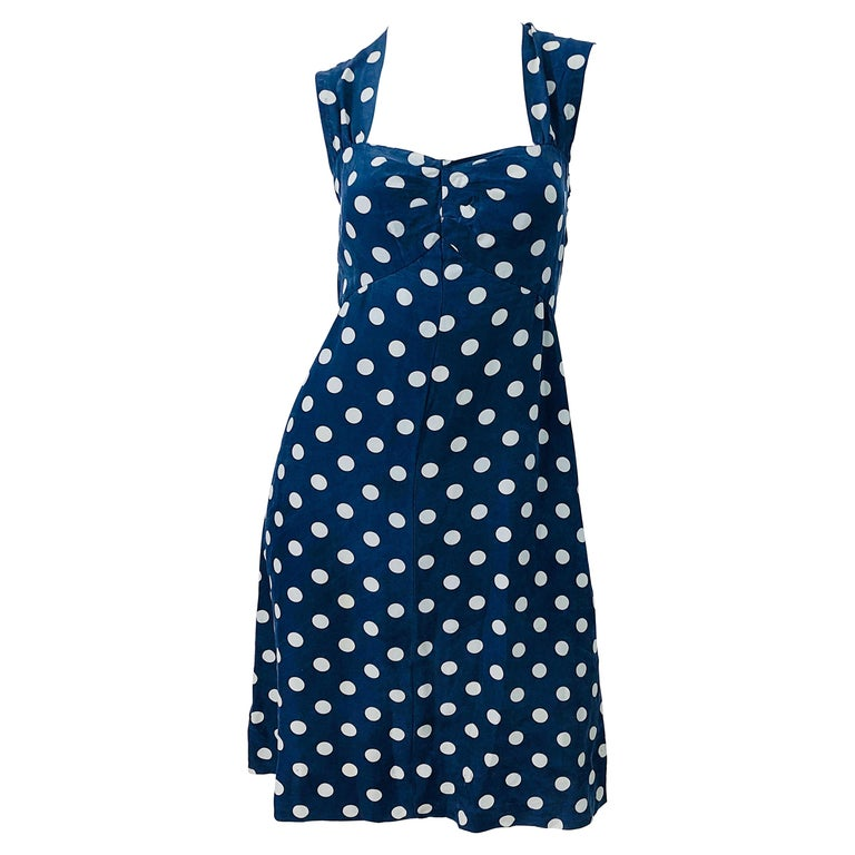 Vintage Yves Saint Laurent 1980s Navy Blue + White Polka Dot Silk 80s Dress YSL For Sale