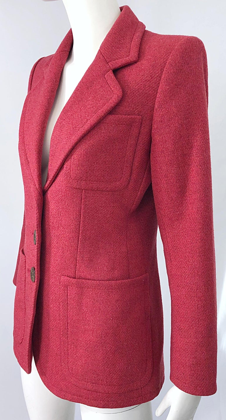 Vintage Yves Saint Laurent 1990s Raspberry Pink Classic 90s Blazer Jacket YSL For Sale 6