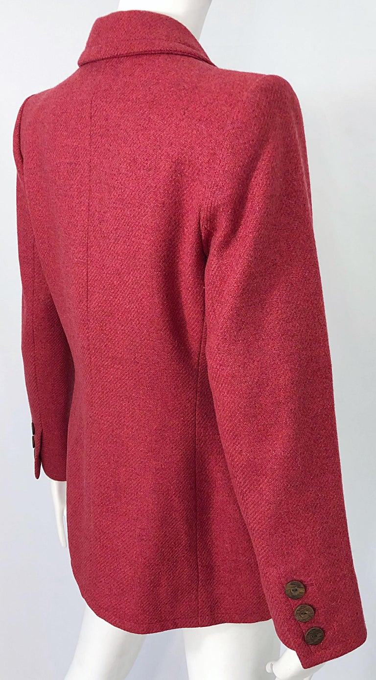 Vintage Yves Saint Laurent 1990s Raspberry Pink Classic 90s Blazer Jacket YSL For Sale 7