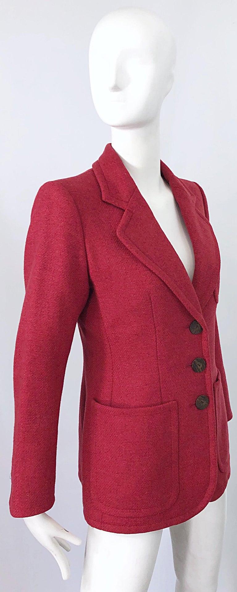 Vintage Yves Saint Laurent 1990s Raspberry Pink Classic 90s Blazer Jacket YSL For Sale 8