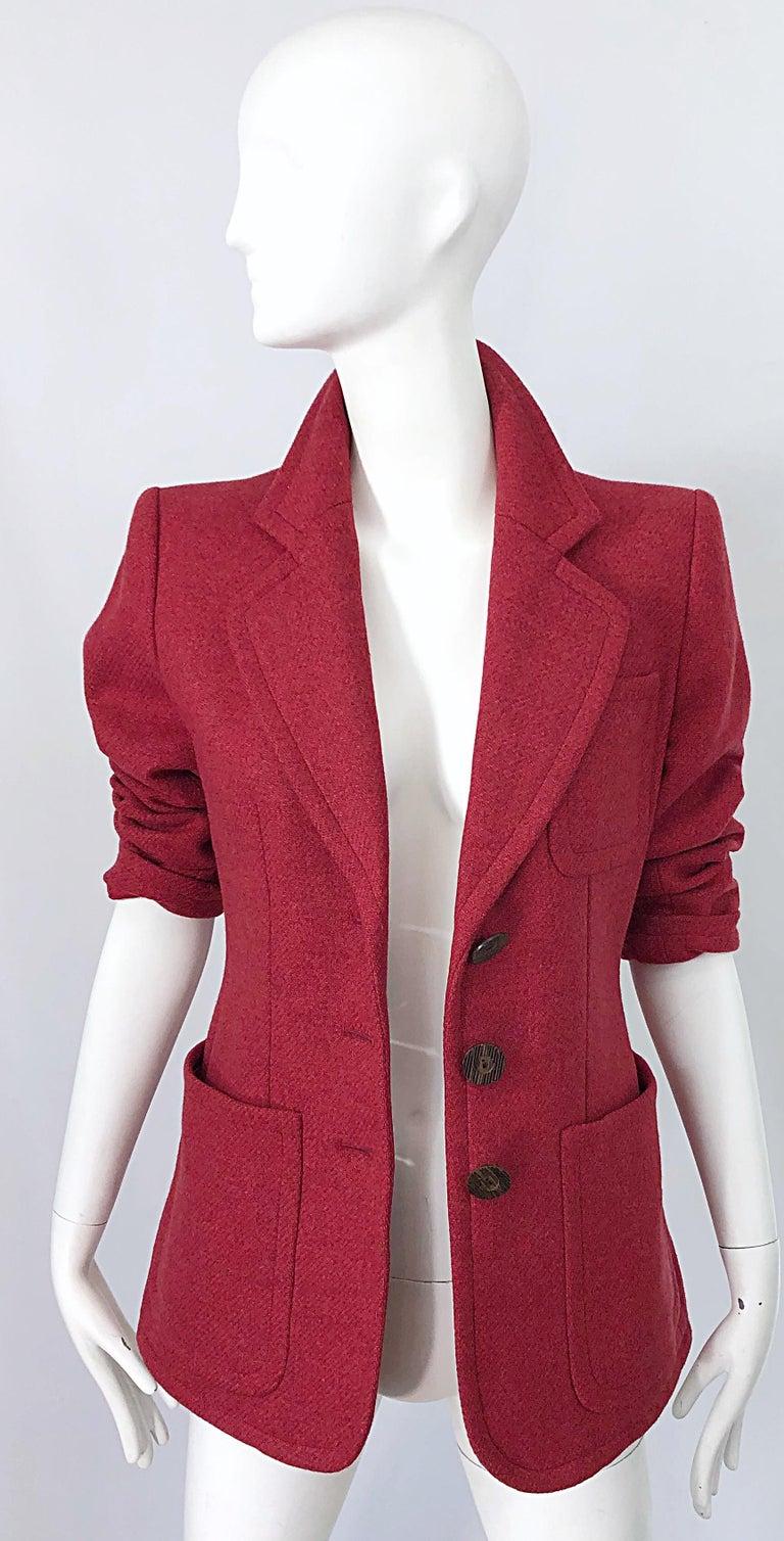 Vintage Yves Saint Laurent 1990s Raspberry Pink Classic 90s Blazer Jacket YSL For Sale 9
